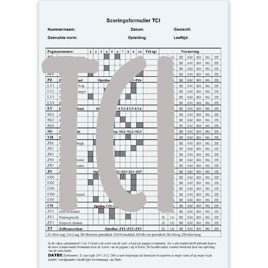 TCI Scoringsformulieren